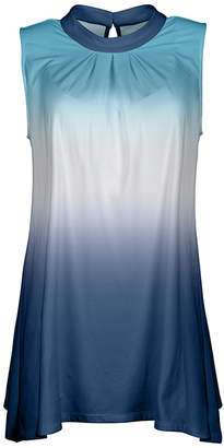 Lily Women's Tunics BLU - Blue & Aqua Ombre Keyhole-Back Sleeveless Tunic - Women & Plus