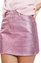 Topshop Women's Moto High Waist Metallic Denim Miniskirt