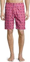 Peter Millar Waimea Floral-Print Swim Trunks, Red Pattern