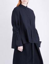 Isabel Benenato Asymmetric-collar oversized cotton-poplin shirt