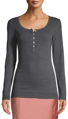 Time and Tru Women's Long Sleeve Henley Rib T-Shirt