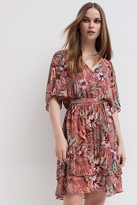 Witchery Flutter Sleeve Print Dress