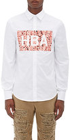 Hood by Air Men's Graphic Cotton Shirt-WHITE