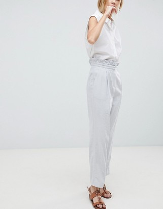 Asos Design DESIGN tailored casual linen pants with frill waist-Gray