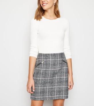 New Look Light Check Brushed Zip Mini Skirt
