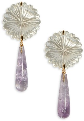 Lizzie Fortunato Lilac Bloom 18K Goldplated Mother-Of-Pearl Flower & Amethyst Drop Earrings