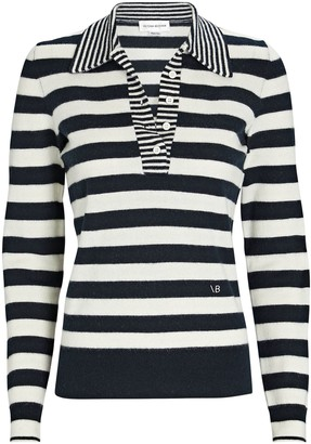Victoria Beckham Striped Wool-Cashmere Polo Sweater