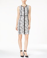 Calvin Klein Petite Faux-Leather-Trim Lace Sheath Dress