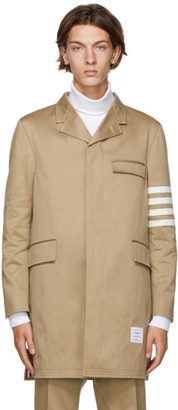 Thom Browne Tan 4-Bar Unconstructed Chesterfield Coat