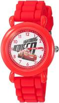 Disney Boy's ' 3' Quartz Plastic and Silicone Casual Watch, Color:Red (Model: WDS000302)