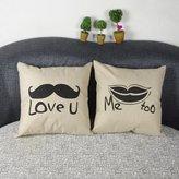 Venkaite Sexy Beard Linen Cotton Pillow Cover Cushion Covers for Valentine's Day Present 2pcs Set