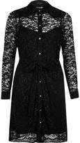 River Island Womens Black dolly lace shirt dress