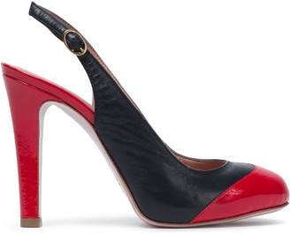 Red(V) Red(v) Two-tone Leather Slingback Pumps