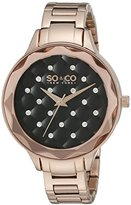 SO&CO New York Women's 'Madison' Quartz Metal and Stainless Steel Dress Watch, Color:Rose Gold-Toned (Model: 5255.4)