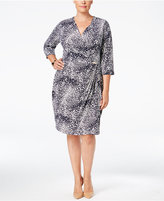 Charter Club Plus Size Printed Faux-Wrap Dress, Only at Macy's