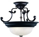 Dolan Two Light Bronze Bowl Semi-Flush Mount