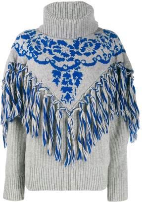 Sacai fringe detail knit jumper