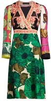 Etro Patchwork Brushed V-Neck Silk Dress