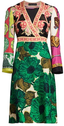 Etro Patchwork Brushed V-Neck Silk Dress