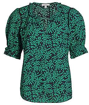 Joie Women's Arlinda Leaf-Print Puff-Sleeve Blouse