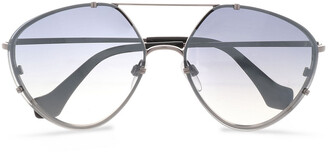 Balenciaga Aviator-style Silver-tone And Acetate Sunglasses