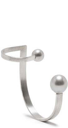 HSU JEWELLERY LONDON Drawing A Circle Pearl Ear Sculpture ear cuff