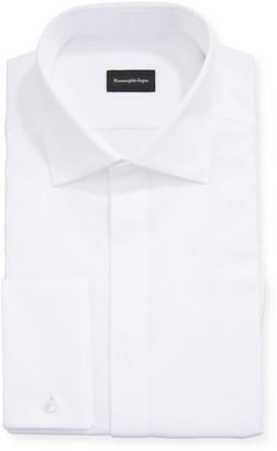 Ermenegildo Zegna Men's Solid Hidden-Button Formal Dress Shirt