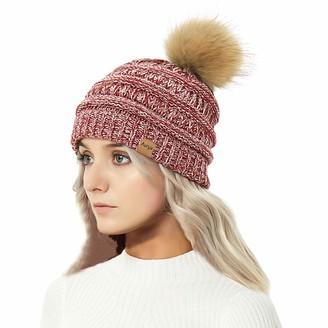 Aurya Cable Knit Pom Pom Beanie Womens Winter Warm Faux Fur Pompoms Bobble Ski Hat Cap - - One Size