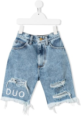 Natasha Zinko Kids Distressed Denim Shorts