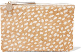 Clare Vivier Supreme leather-trimmed printed calf hair clutch