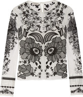 Temperley London Almas satin-trimmed embroidered tulle top