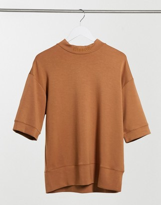 Sixth June relaxed fit drop shoulder high neck t-shirt in camel