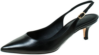 Dolce & Gabbana Dolce and Gabanna Black Leather Slingback Pointed Toe Sandals Size 35