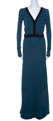Fendi Dark Teal Jersey Backless Maxi Dress S