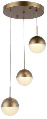 Worldwide Lighting Phantasm 7.5-Watt Matte Gold Tone Finish Integrated Led Iced Opal Acrylic Pendant Ceiling Light