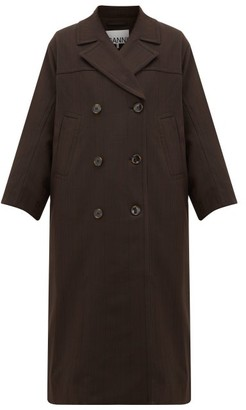 Ganni Pow Double-breasted Check Twill Coat - Dark Brown