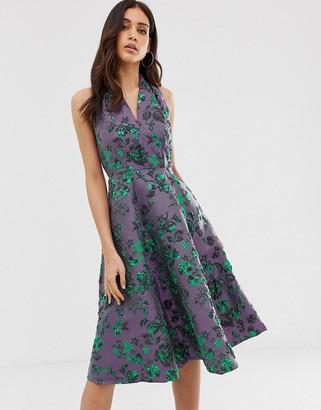 Closet London Closet high neck flared dress-Purple