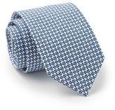 Savile Row Men's Navy White Daisy Cotton Print Slim Tie