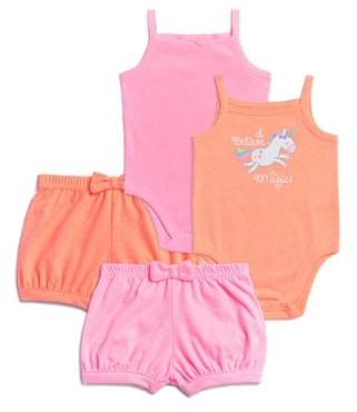 Garanimals Baby Girls Cami Bodysuits & Shorts Outfit, 4-Piece Set
