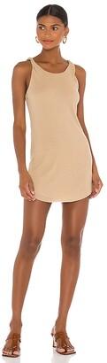 The Range Shadow Linen Jersey Twist Mini Dress
