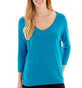 JCPenney STYLUS Stylus 3/4-Sleeve Relaxed Fit Mixed Media T-Shirt