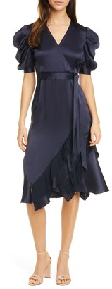 Diane von Furstenberg Ansley Puff Sleeve Satin Dress