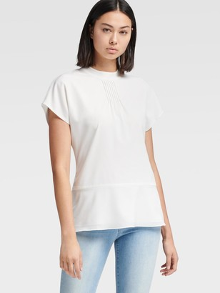 DKNY Women's Peplum Top With Pintuck Detail - Ivory - Size XX-Small