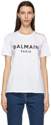 Balmain White and Black Button Logo T-Shirt