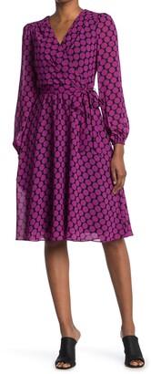 London Times Dot Waist Tie Fit & Flare Dress