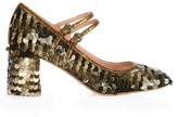 Rochas Sequin-embellished block-heel pumps