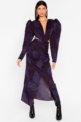 Nasty Gal Womens Go to the Extreme Cut-Out Leopard Dress - Blue