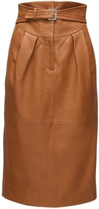 Alberta Ferretti High Waist Belted Leather Pencil Skirt