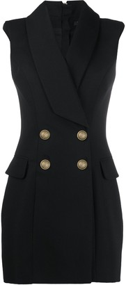 Balmain Double-Breasted Sleeveless Dress