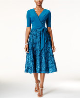 Alex Evenings Sequined Rosette Wrap Dress